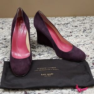 🍁 Kate Spade Purple Suede Wedges
